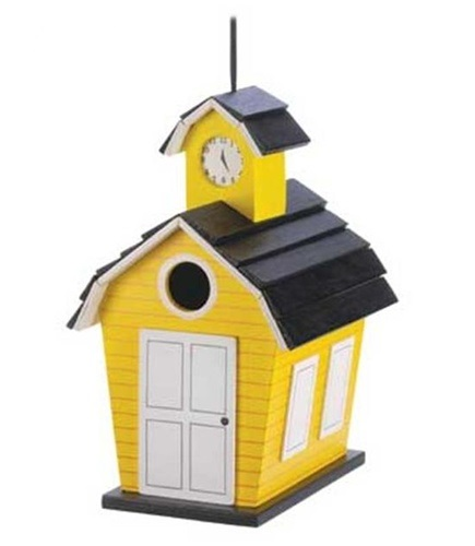 creative birdhouse yellow school